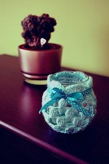 Szydełkowy niebieski lampion