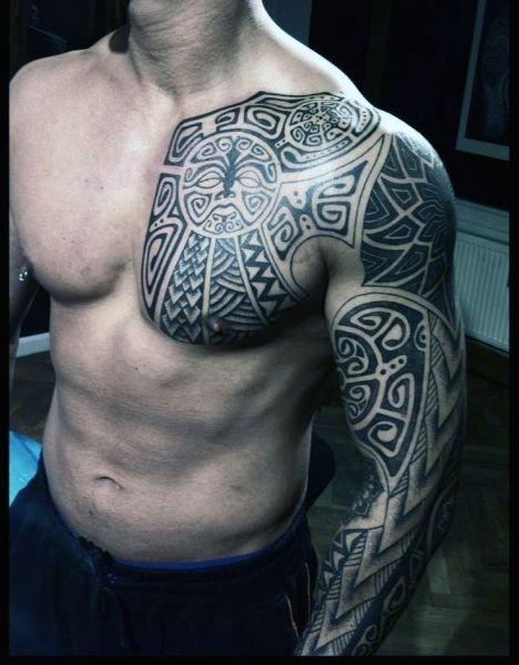 Tatuaże Męskie Na Piersi I Ramie Na Tatuaże Zszywkapl