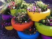 pomysł na niepotrzebny opony i kolorowy ogród :)