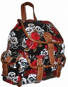 Plecak w czachy i róże. Vintage style