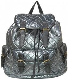 Pikowany, srebrny plecak. Vintage style