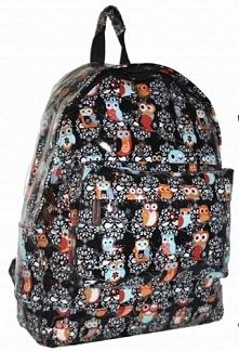 Lakierowany plecak w sowy