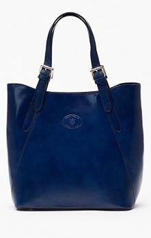 Skórzana shopper bag w kolorze granatowym