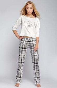 Sensis Teddy Bear piżama Urocza dwuczęściowa piżamka, z przodu nadruk słodkiego misia, długie spodnie w kratkę