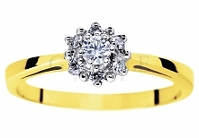Urzekający pierścionek na zaręczyny - złoto próby 585, siedem brylantów, romantyczny kształt kwiatu - GRAWER W PREZENCIE - kolekcja GESELLE Jubiler