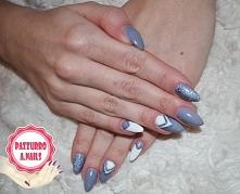 Szarości, biel i efekt holo :) Manicure hybrydowy :).