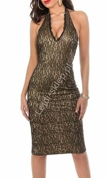 Sukienka na szyję ze złotymi prześwitami, beżowo - złota / sukienki wieczorowe