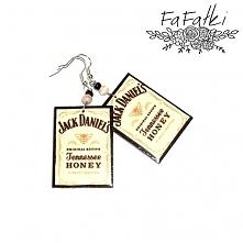 Kolczyki decoupage Jack Daniels.