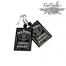 Kolczyki decoupage Jack Daniels