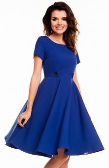 Awama A135 sukienka niebieska Klasyczna sukienka, pięknie układa się na sylwe...