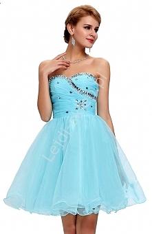 Tiulowa sukienka z kryształkami na studniówkę / karnawał - niebieska