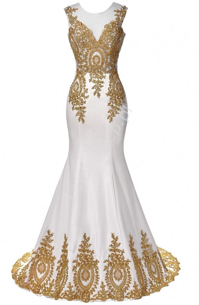 Suknia ślubna ze złotą gipiurą  suknie ślubne, sukienka ślubna