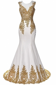 Suknia ślubna ze złotą gipi...