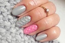 Sweterkowe paznokcie - szar...