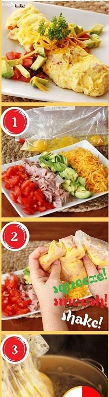 Poniżej na zdjęciu pokazujemy krok po kroku jak zrobić dietetyczny omlet gotowany... Pyszności...