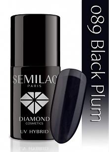 Lakier hybrydowy Semilac 089 Black Plum - 7 ml. Czerń pasuje do wszystkiego &...