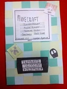 Kartka mojego wykonania dla gracza w gre minecraft