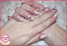 Żelowe paznokcie z ptaszkami :). Delikatny, mleczny róż i syrenka.