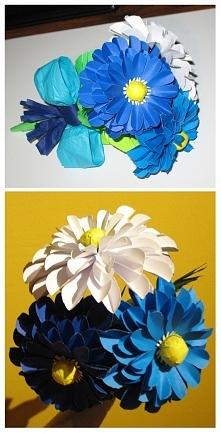 Kwiaty ręcznie robione, dodatek do prezentu zamiast żywych kwiatów :)