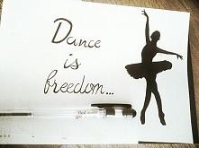 Dance is freedom drawing A5 black ballpen