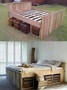 Bed made out of pallets w/ crates for storage