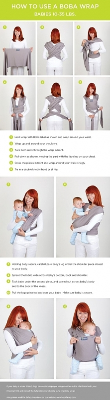 Helpful instructions on how to tie a wrap baby carrier and then get your baby...