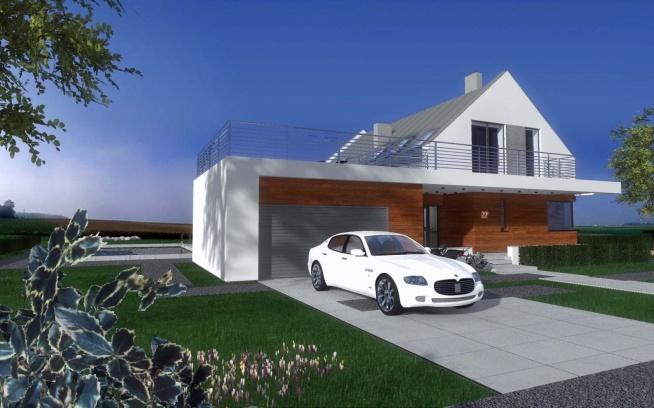 Projekt domu z uwzględnieniem garażu i podjazdu.