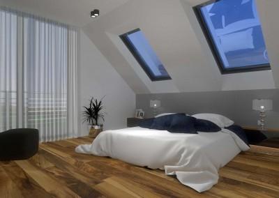 Aranżacja wnętrza sypialni na poddaszu. Tuż obok znajduje się łazienka - projekt domu wykonany przez Mobiliani Design.