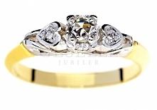 Romantyczny pierścionek z dwukolorowego złota w stylu retro z diamentami 0,14 ct - GRAWER W PREZENCIE - kolekcja Retro GESELLE Jubiler