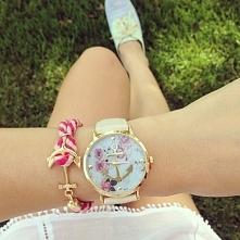 Zegarek - kotwica na kwiatach, biały pasek - 21,99zł - klik w zdjęcie