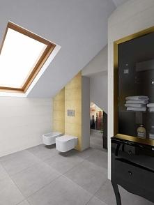 Elegancka, biało-złota łazienka, której wnętrze tworzy luksusowy nastrój. Z prawej strony widać czarno-złotą, lakierowaną komodę, specjalnie odnowioną jako oryginalny i stylowy ...
