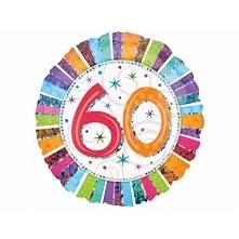 Wyjątkowy prezent na 60 urodziny - Balon 60  - Foliowy, Okrągły, Wypełniony H...