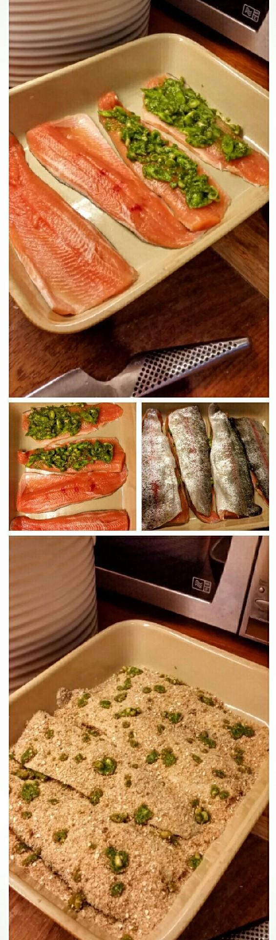 Ryba wpływa na wszystko :P czyli: Pieczony pstrąg z pesto, szczypiorkiem pod chrupiącą kołderką. (piec 25min w 240°C) banalnie prosty sposób na rybę. Uwielbiam  (ostatnie foto jest przed upieczeniem)