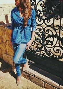 stylizacja kurtka damska parka kaptur jeans marmurek dekatyzowany wiosna lato...