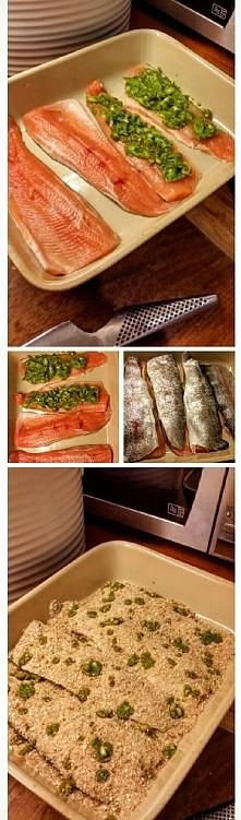 Ryba wpływa na wszystko :P czyli: Pieczony pstrąg z pesto, szczypiorkiem pod ...