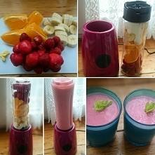 smoothie :) banan / truskawka / pomarańcza / imbir
