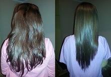 Prostowanie keratynowe wykonane przeze mnie w domu - włosy siostry :) Jeszcze...
