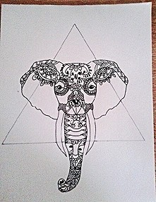 Black and white A5 indi elephant drawing ballpen