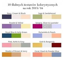 10 ślubnych zestawów kolorystycznych na rok 2015/16