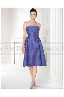 Strapless Satin Formal Knee...