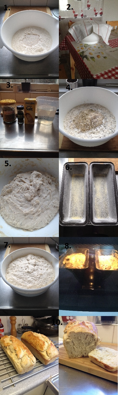 Domowej roboty chleb (przepis na 2 chleby lub 1 duży bochen)  Składniki: 1kg mąki przennej (można także zrobić pół na pół z mąką żytnią) 50gr świeżych drożdży 2 łyżeczki cukru 2-3 łyżeczki soli ok. 1l ciepłej wody dodatki (np. suszone zioła, prażona cebula, czosnek, płatki owsiane, ziarna, itp.)  Sposób przygotowania: 1.Do dużej miski wsypujemy makę i robimy dołek do którego wrzucamy pokruszone drożdże. Dołek zalewamy 200 ml ciepłej wody,posypujemy cukrem i odrobiną mąki. 2. Odstawiamy na 15 min w ciepłe miejsce.  3.Po upływie czasu do rozczynu dodajemy sól oraz wybrane przez nas dodatki (w tym przepisie używam ziaren słonecznika oraz troche ziół prowansalskich). 4. Wszystko zalewamy ok 600-700 ml ciepłą wodą.  5. Całość wyrabiamy aż wyjdzie nam gładkie ciasto (ciasto jest dość klejące). Odstawiamy je na 1 godz w ciepłe miejsce.  6. Gdy ciasto będzie rosło możemy przygotować formy (ja używam 2 keksówek). Wysmarowujemy boki oraz dno form masłem iposypujemy mąką ( dla chetnych dno można posypac sproszkowanym czosnkiem).  7. Gdy ciasto urośnie wyrabiamy je jeszcze przez ok 1 min. Dzielimy mase na 2 równe części i wkładamy do wcześniej  przygotowanych form.  8. Odstawiamy na 10-15 min aż odrobine podrosną. Chleby smarujey roztrzepanym białkiem (można je także posypać ziarnami). Pieczemy 45 min w temperaturze 180*C.  9. Gorące chleby wyjmujemy z form i kładziemy na kratkę aż do całkowitego wystudzenia. 10. Gotowe :)