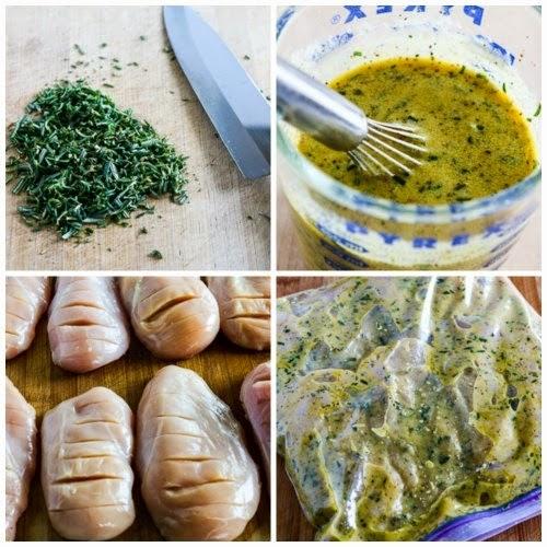 Soczysta grillowana pierś z  kurczaka – 5 kroków + marynaty na 6-8 pojedynczych piersi 1.Usunąć tłuszcz, ścięgna.  2.Ponacinać poprzecznie piersi na tą samą grubość. (cienki koniec odciąć) 3. Przygotować marynatę z: 2 części  oliwy, 1 części soku z cytryny (lub innej kwaśnej zaprawy – np. jogurtu, octu) i przypraw (według uznania) – czosnek, imbir, zioła, musztarda, curry, sos sojowy, olej sezamowy, sos Worcester, chili, papryka. 4.Włożyć filety do marynaty na 6-8 godzin, a najlepiej na cały dzień.  5.Grillować na średnio rozgrzanej patelni przez około 4 – 6 min z każdej strony – nie grillować zbyt długo, bo będzie suchy i twardy By mięso się nie przyklejało – posmarować patelnie olejem. Marynata do kurczaka po grecku:  1/2 szklanki oliwy z oliwek extra virgin  1/3 szklanki świeżo wyciśniętego soku z cytryny  1 łyżeczka  świeżej skórki z cytryny lub 1/4 łyżeczki  suszonej skórki z cytryny 1 łyżeczka  greckiej przyprawy  1 łyżeczka przyprawy do drobiu  1 łyżeczka suszonego oregano  czarny pieprz do smaku Marynata z musztardą: 1/2 szklanki musztardy Dijon (lub innej)  1/4 szklanki soku z cytryny  2/3 szklanki oliwy z oliwek  2 łyżeczki  czosnku w proszku lub świeżego  2 łyżki  mielonego suszonego rozmarynu  lub 3 - 4 łyżki świeżego /drobno posiekanego/ 1 łyżeczka grubo zmielonego czarnego pieprzu  1 łyżeczka Spike Seasoning /zamiennie Vegety lub innej  przyprawy/  1 łyżeczka nasion selera (opcjonalnie)  Marynata cytrynowo ziołowa  1/2 szklanki oliwy z oliwek  3 łyżki soku z cytryny   1 łyżka czosnku w proszku lub świeżego 2 łyżeczki Spike Seasoning  (zamiennie Vegety) 2 łyżeczki  suszonej bazylii  1 łyżeczka  suszonego oregano  1 łyżeczka suszonej cebuli  1/2 łyżeczki suszonej szałwii  1/2 łyżeczki czarnego pieprzu   Marynata z octem balsamicznym 2/3 szklanki octu balsamicznego  1/4 szklanki musztardy Dijon  1/4 szklanki oliwy z oliwek  1 łyżka suszonej pietruszki  1 łyżka suszonej cebuli (lub 2 łyżki świeżej  - startej na tarce)  1 łyżeczka suszonego tymianku  1/2 ły