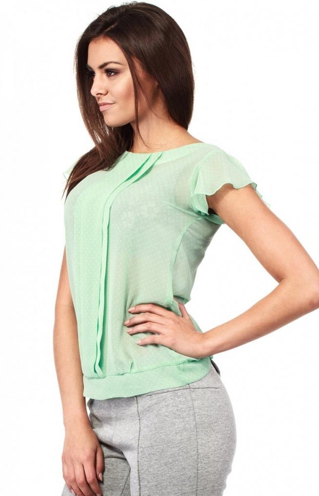 Moe MOE123 bluzka miętowa Kobieca bluzka, wykonana z lekkiego i zwiewnego materiału, ozdobiona drobnymi kropeczkami