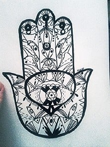 Fatima's hand A5 black and white ballpen drawing :-)