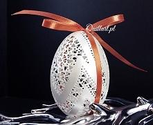 Wielkanocna ażurowa pisanka, pisanki - naturalna gęsia wydmuszka (jajo) jako ...