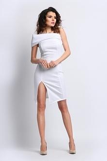 Biała asymetryczna sukienka na ramię uwielbiamy ją <3 <3