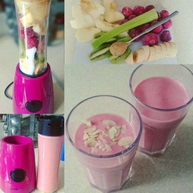 smoothie :) part 4 pysznie i zdrowo :) banan /kiwi/truskawki /jabłko/jogurt naturalny/ seler naciowy /len mielony