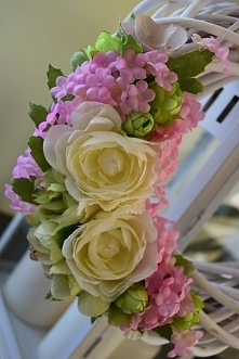 Bajeczny wianek biało-różowy, Dziedzicka Dekoracje zapraszam na Facebooka