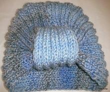 Czapka damska turban.Czapka robiona na drutach.