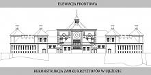 Rysunki elewacji rekonstrukcji zamku Krzyżtopór w miejscowości Ujazd przygoto...